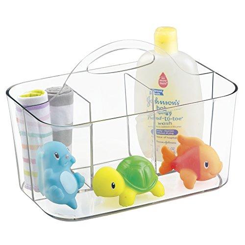 mDesign Baby Organizer – Aufbewahrung für Spielzeug, Shampoo, Thermometer, Puder, Lotion – durchsichtig