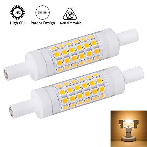 R7S Led-lamp, 78 mm, 6 W, lineaire halogeenlamp, 2 stuks, dubbele uiteinden J78 voor tuin, park, garage, landschap