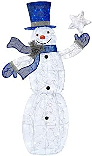 WWL 5 Foot Tall - Light-Up Holiday Glittering Frosty The Snowman - Pre-Lit