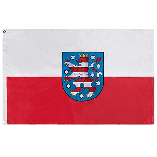 Lixure Thüringen Flagge/Fahne Premium Qualität für Windige Tage 90x150cm Stickerei-Flagge Durable 210D Nylon Draußen/Drinnen Dekoration Flagge - Nicht billiger Polyester MEHRWEG