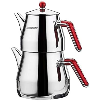 Large Turkish Tea Pot Traditional Style-Stainless Steel-Caydanlik Double Kettle (Large)