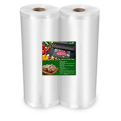 TowerTop Bolsas selladoras al vacío: 2 rollos de 8 pulgadas x 50 pies, bolsas selladoras al vacío para ahorro de alimentos, ideal para almacenamiento al vacío, preparación de comidas y cocina Sous Vide