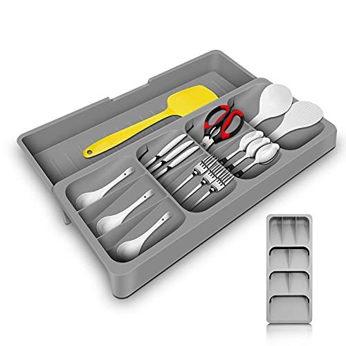 Porta posate cucina cassetto ,Organizzatore Cassetto Cucina Espandibile semplice organizer posate,Utile divisorio per utensili da cucina con 9 scomparti,Non occupa spazio