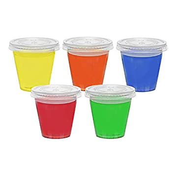 Jello Shot 2 Ounce Plastic Clear Glasses with Lids  200 Sets  Shaped Like Actual Shot Glasses