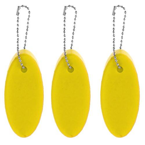 Homyl 3pcs Ovale Forme Mousse Eva Flottant Porte-clés pour Bateau Kayak Canoë Sac Clé - Jaune, 8 x 3.5 x 1.8 cm