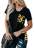 AlvaQ Women T Shirts Cute Sunflower Print Shirt Summer Casual Loose Short Sleeve V Neck Tees Tops Black 1X (Apparel)