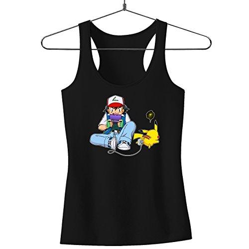 Okiwoki Débardeur Femme Noir Parodie Pokémon - Sasha Ketchum et Pikachu - Batterie de Secours : (Débardeur de qualité Premium de Taille XL - imprimé en France)