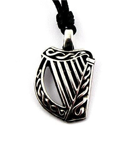 Amethyst Dublin Celtic Harp Necklace Pewter Celtic Legends Irish Made