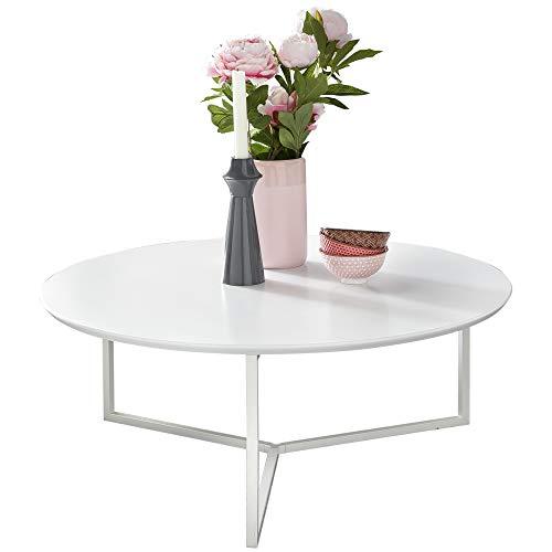 WOHNLING Diseño: Mesa ouchtisch MDF Madera Blanco Mate Estructura de Metal ø¸ 80 cm | Salón Mesa lacada Sofatisch Moderna | Mesa de café Redonda Lounge.