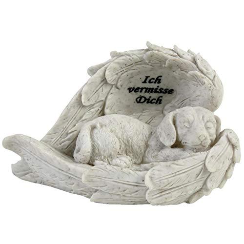 Trauer-Shop Gedenkstein Hunde, schlafender Hund eingehüllt in Engelsflügeln, Ich vermisse Dich. 19 cm. 1 Stück