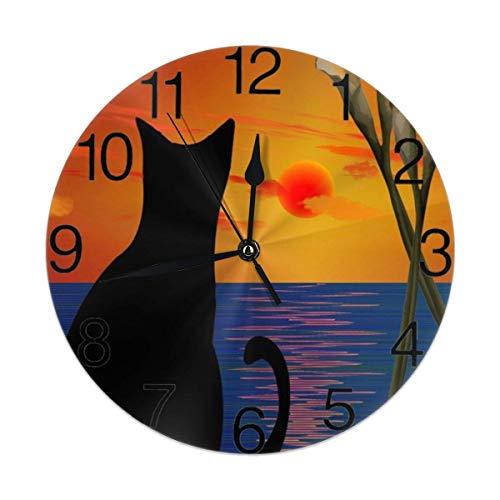 ALLdelete# Wall Clock Katze im Sonnenuntergang Runde Wanduhr Lautlos, Nicht tickend, batteriebetrieben, leicht lesbar für Schüler Büro Schule Home Dekorative Uhr Kunst