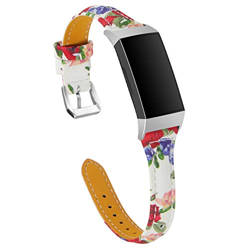 XIALEY Correa Compatible con Fitbit Charge 3/ Charge 4, Mujeres Slim Leather Sport Banda Fancy Pattern Brazalete Reemplazo De Pulsera Accesorios para Charge 3 / Charge 4 Fitness Tracker,H