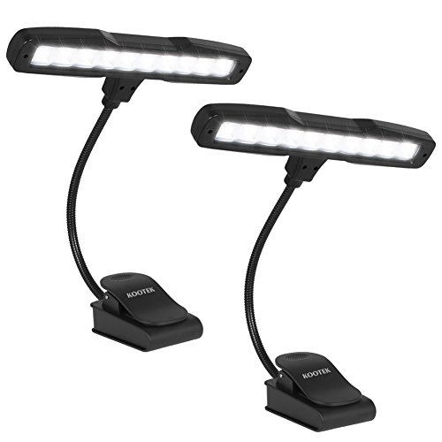 Kootek 2 Pack Clip On Reading Light - 10 LED Rechargeable Book Lights, Music Stand Light Piano Orchestra Lamp with Adjustable Neck USB Desk Lamps