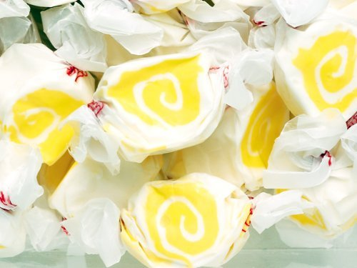 Pina Colada Yellow & White Gourmet Salt Water Taffy 1 Pound Bag