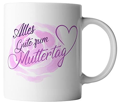 vanVerden Tasse - Alles Gute zum Muttertag Mama - Geschenk zum Muttertag - beidseitig Bedruckt - Idee Kaffeetassen, Tassenfarbe:Weiß