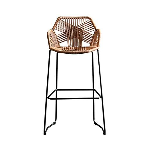 XCO Chair High Bar Tables And Chairs Outdoor Bar Tables And Chairs Bar Counter Front Stool Rattan High Chair (Brown, 51x54x83cm)