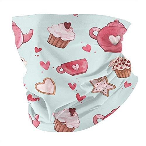 Kopftuch, personalisierbar, Outdoor-Stirnband, Sport-Kopfbedeckung, rosa Teekannen, Tassen und Cupcakes