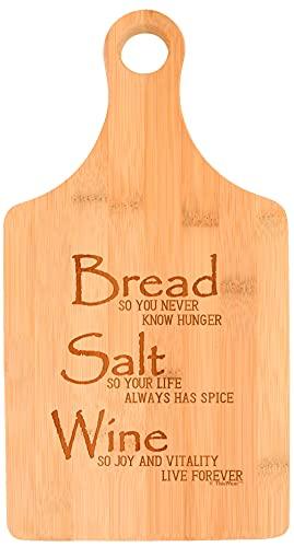 Bread Salt Wine Housewarming Gift For Women Wonderful Life Quote Bread Salt Wine Paddle Shaped Bamboo Cutting Board