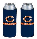 NFL Football Team Color Logo Ultra Slim 12oz Beer Can Holder Insulator Coolers - 2-Pack (Chicago Bears)