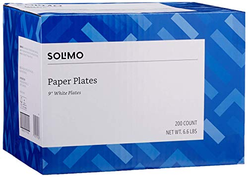 """Amazon Brand - Solimo Disposable White Paper Plates for All Occasions, 9"""" Diameter, 200 Total Count (FSC Mix Certified)"""