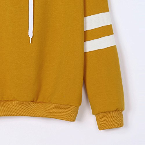 TUDUZ Hot Womens Fashion Long Sleeve Stripe Sweatshirt Simple Casual Planetary Printed Hoodie Pullover Tops Blouse (Yellow, M)