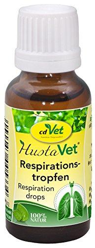 cdVet Naturprodukte HustaVet Respirationstropfen 20ml - Anregung des Atemtrakts zur verbesserten Durchlüftung - Unterstützung einer tieferen Einatmung - Unterstützung Immunsystem -