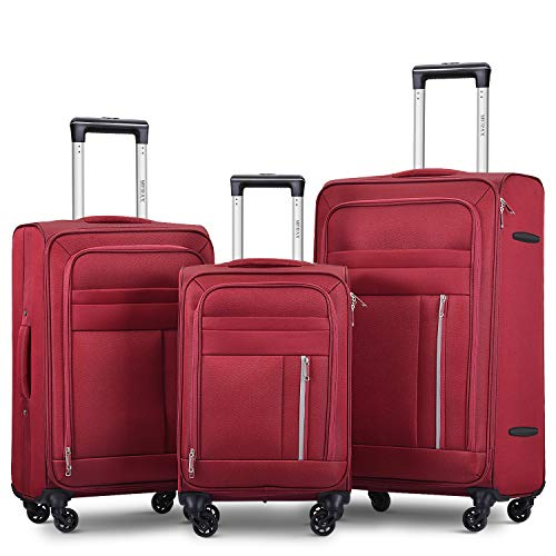 Merax Spinner Soft Shell Luggage Super Lightweight Suitcases 4 Wheels(20/24/28/SET of 3) (Set of 3, Red)