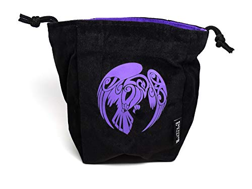Microfiber Large Dice Bag   Truly Reversible with Raven Image on Each Side   Stands Up on its Own and Holds 200+ Dice