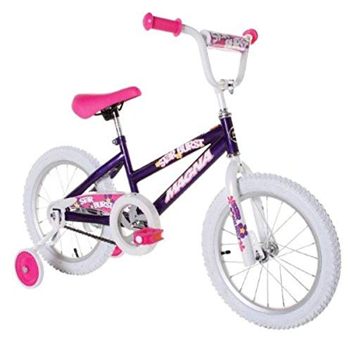 Dynacraft Magna Kids Bike Girls 16 Inch Wheels with Training Wheels in Purple for Ages 4 Years and Up