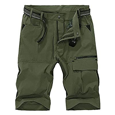 Men's Outdoor Casual Expandable Waist Lightweight Water Resistant Quick Dry Cargo Fishing Hiking Shorts,16962,Army,US 34(Tag 3XL)