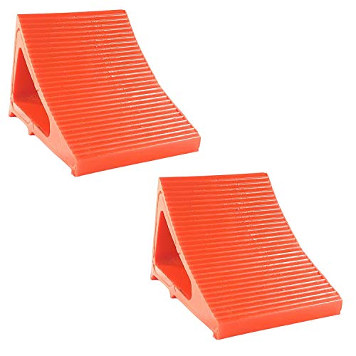 """Wheel Chock Camper Accessory Trailer Tire Chock RV Levelling Block Heavy Duty Urethane for Trucking RVs Campers Trailers Trucks. Stronger than Rubber Chocks, 8"""" Long 6 """" Wide 6"""" High (2 Pack Orange)"""