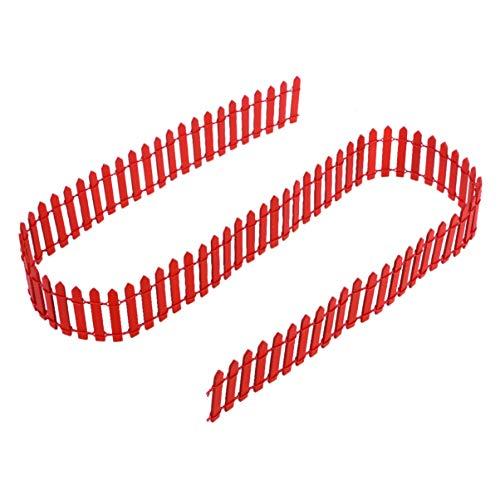 Angoily 1 Unid 100 Cm X 5 Cm Mini Valla de Piquete Roja Valla de Árbol de Navidad Valla de Madera Creativo Clásico Jardín de Hadas DIY Mini Casa Planta Olla Árbol de Navidad Bonsai