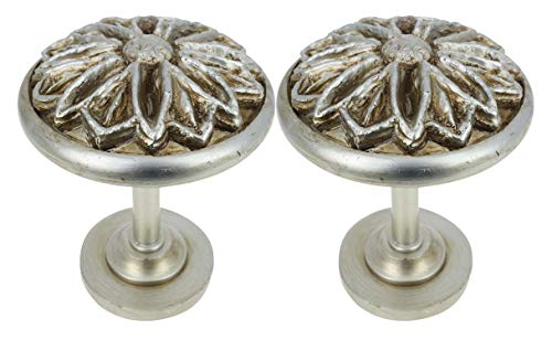 MERIVILLE Set of 2 Petal Window Drapery Medallion Holdbacks, Curtain Tiebacks, Wall Hook, Tassel Holder, Pewter
