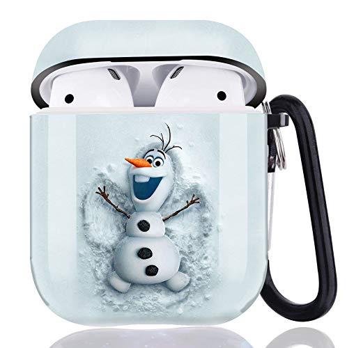 Die Eiskönigin AirPods-Schutzhülle, vollständig geschützt, stoßfest, niedliche Schutzhülle mit Schlüsselanhänger-Clip, Karabiner und Hals-Laufband, kompatibel mit Apple AirPods 2 und 1