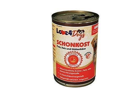Love4Dogs Premium SCHONKOST Pute mit Reis und Hüttenkäse 6x400g Durchfall/Magen-Darm