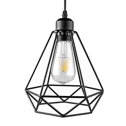 Iluminación colgante pintada industrial del hierro, ONEVER Colgante ligero pendiente de la jaula del diamante, Lámpara colgante de Droplight, Enchufe E27, CA 85-240V, ninguÌ n bulbo
