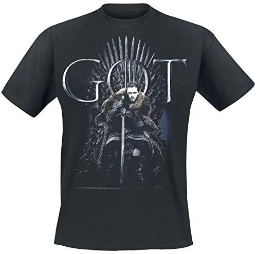Game Of Thrones Juego de Tronos Jon Snow Hombre Camiseta Negro M, 100% algodón, Regular