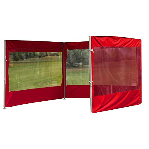KLOP256 Tonnelle avec panneau latéral imperméable et durable en tissu Oxford - Tente d'extérieur anti-UV, réutilisable, coupe-vent, pliable (2 rouge)