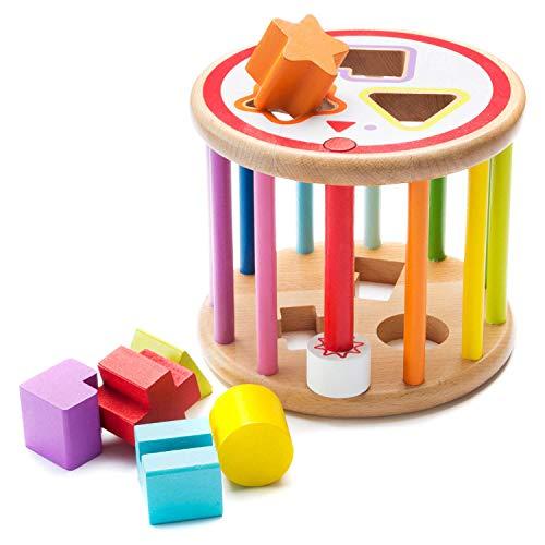 all Kids United Baby Lernspielzeug Sortierspiel aus Holz Formenrolle Sortierwürfel Holzspielzeug Sortierbox; Bunter Steckwürfel mit 2 Schwierigkeitsgraden