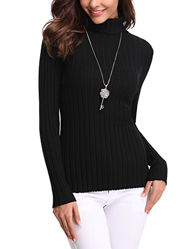 Abollria Basic Jersey Mujer Primavera Suéter Cuello Alto Invierno Pullover de Punto Otoño Manga Larga Sweater Turtleneck Top Negro, S
