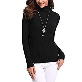 Abollria Womens Turtle Neck Long Sleeve Chunky Knit Ribbed Sweater Jumper Knitwear Top