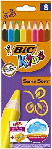 BIC Kids Jumbo, 8 Buntstifte + Jumbo Anspitzer, Ab 3 Jahren, Malen wie Wachsmalstifte