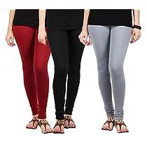 Fablab Women's Cotton Leggings Churidar Combo Pack of 3(Multicolour,FreeSize)