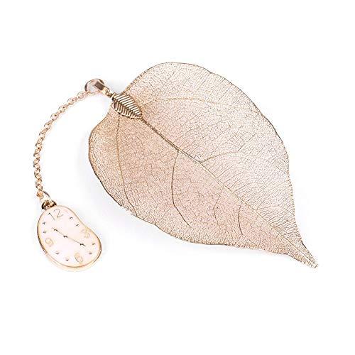 Segnalibro - Squisito Segnalibro in metallo con perline con Alice Rabbit Clock Regalo vintage per donna Lettura libro, oro (Design : Clock)