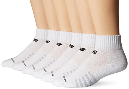Balance Men's Core Cotton 6 Pack Quarter Socks, Black, Large