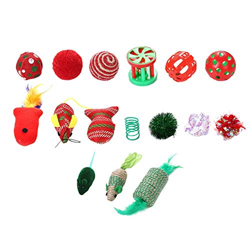 Maritown Cat Toys Kitten Toys Assorted 16pcs, Christmas Cat Gift Toys Interactive Toys Set Mouse Cotton Rope Ball Feather Teaser Best Xmas Gift for Indoor Cat