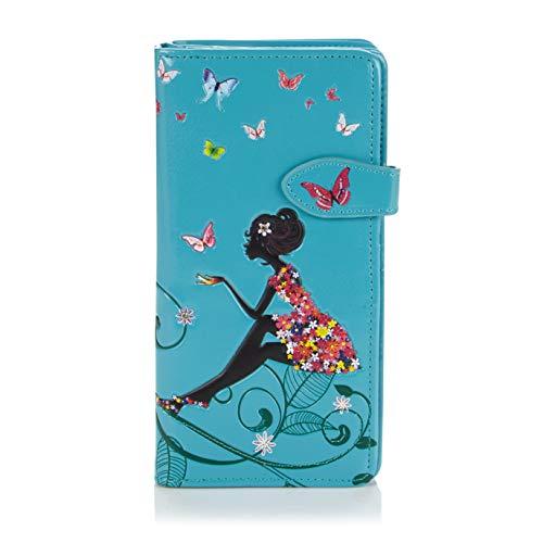Shagwear ® Portemonnaie Geldbörse Damen Geldbeutel Mädchen Bifold Mehrfarbig Portmonee Designs: (Schmetterling Oase Aquamarin/Butterfly Oasis)