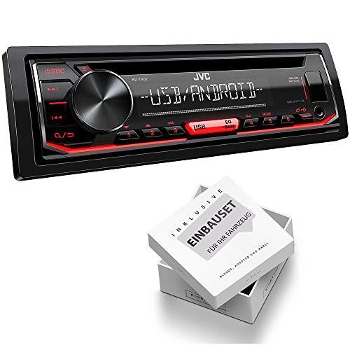 JVC KD-T402 1-DIN autoradio met USB AUX geschikt voor Android geschikt voor Dodge RAM 2002-2006 zwart