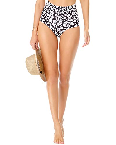 Anne Cole Signature Itsy Bitsy Ditsy High-Waist Bikini Bottom, M, Black/White Floral