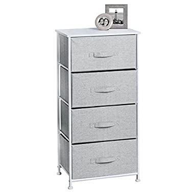 mDesign Fabric 4-Drawer Storage Organizer Unit for Bedroom, Nursery, Office - Gray